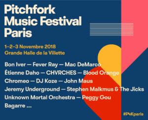 l'affiche 2018 du Pitchfork music festival paris