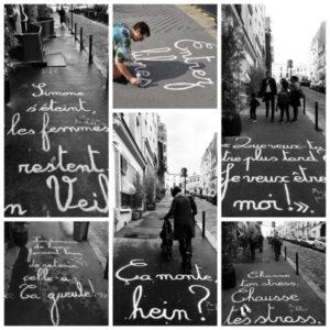 ma rue par achbé écrit sur les trottoirs de montmartre