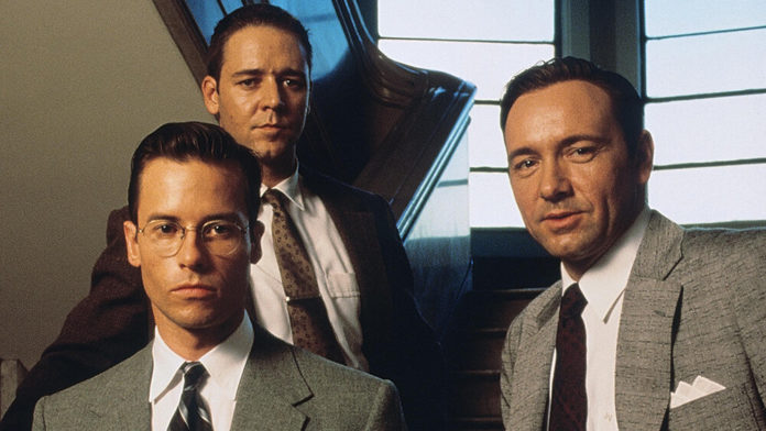 l.a confidential guy pearce, kevin spacey, russell crowe